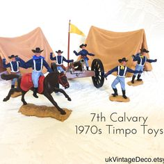 A beautiful collection of 1970s Timpo Toys 7th Calvary set, consisting of two Calvary Tents, Civil War Cannon, Flagpole, Calvary Officer on Horseback and 6 Calvary Soldiers. #TimpoToys #TimpoEskimo #1970sToys #MustHaveToys #VintageToys