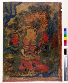 Painting. Religious. The Lokapala Vaisravana, guardian of the north, on textile. JC French - loot ??