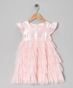 Take a look at this Pink Ruffle Angel-Sleeve Dress - Infant, Toddler & Girls by Dress Up Dreams Boutique on #zulily today!