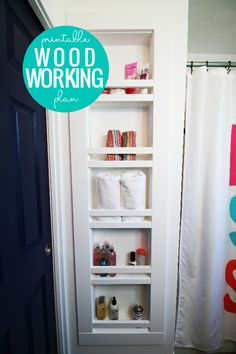 DIY Recessed Shelving for Between the Studs Woodworking Plans – Remodelaholic Bathroom Shelves, Kitchen Shelves, Bathroom Organization, Bathroom Storage, Bathroom Ideas, Basement Bathroom, Bathroom Remodeling, Bathroom Wall, Bathroom Inspiration