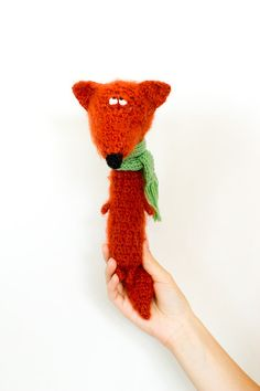 Author's unique toy from TutseeToy Thoughtful crochet fox is stuffed toy, very soft, fluffy and tender 20 cm tall It seems like very original handmade gift especially to reflective person=))) made during 7 days
