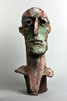 Stephen Dillon Keramik,  Head, Stoneware, Porcelain, Engobe, Underglaze, Oxides, ca. 50cm, 2012
