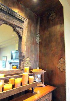Fab foil decorative finish with Turkish Emblem stencils and French tacks by Arizona artist Carmen Benoit.