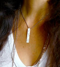 Silver Linear Bar Necklace