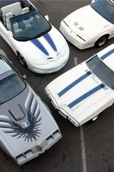 Pontiac Trans Am gathering (1969 white with blue stripes - 1st year of production; 1979 10th anniversary silver; 1989 20th anniversary white - 245 hp turbocharged Buick V6; 1999 30th anniversary white with blue stripes)