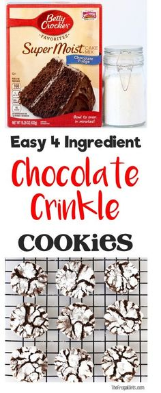 Easy Chocolate Crinkle Cookies Recipe! Just 4 ingredients including delicious chocolate cake mix, and you've got yummy crinkles! Perfect for holiday parties and cookie exchanges! | TheFrugalGirls.com