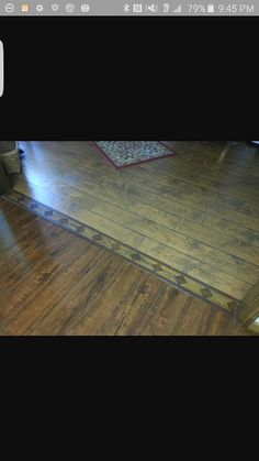 Example of transitioning 2 different types of flooring.