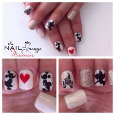 @the_nail_lounge_miramar disney, Mickey Mouse, tinkerbelle, princess castle, gel nail art