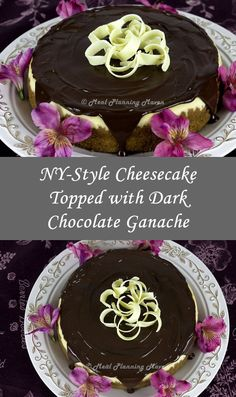 NY-Style Cheesecake Topped with Dark Chocolate Ganache l Meal Planning Maven's Blog #ChocolateLovers #ValentinesDayDesserts Perfect for Valentine's Day and company desserts! This decadent NY-style cheesecake is dressed up for festive occasions by draping it with a tantalizing dark chocolate ganache and further embellished by mounding the center with white chocolate curls... Easy to make and delish!...