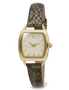 M&S Collection Square Face Faux Snakeskin Print Strap Watch-Marks & Spencer