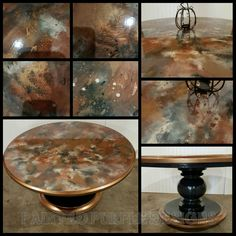 Beautiful table created with unicorn spit, chalk paint and Metallic Paint