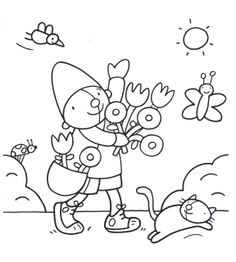 Kleurplaat Pompom lente Colouring Pages, Coloring Pages For Kids, Coloring Sheets, Kids Art Class, Art For Kids, Snowman Tree, Spring Theme, Stencil Templates, Summer Activities For Kids