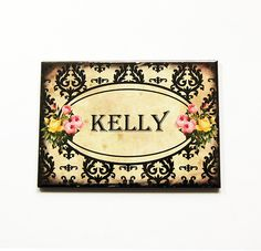 Personalized pocket mirror, Large Pocket mirror, Customized Gift, rectangle mirror, Gift for her, Victorian Design, Stocking Stuffer (5406) by KellysMagnets on Etsy
