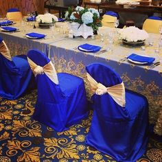 Beautiful royal blue and gold table linen at the 2013 Bridal Show Blue Wedding Decorations, Quinceanera Decorations, Wedding Themes, Wedding Colors, Wedding Ideas, Wedding Dresses, Gold Chair Covers, Trendy Wedding, Dream Wedding