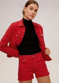 Denim design Cotton fabric Short design Five pockets Cuffed hem Zip and one button fastening Fashion Moda, New Model, Fashion Sketches, Denim Skirt, Latest Trends, Cotton Fabric, Leather Jacket, Skirts, Jackets
