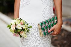City Hall Weddings: 14 NYC Couples To Melt Your Heart #refinery29  http://www.refinery29.com/city-hall-wedding-style#slide12  Look at that embroidery! And, those flowers! And, that bag!