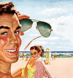 HotSaleClan com  brand oakley sunglasses online outlet , Sunglasses - detail from 1952 Ray Ban Sunglasses ad.