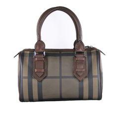 BURBERRY Smoke Check Chester Bowling Handbag