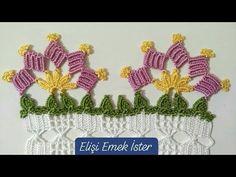 Kolay Tığ İşi Havlu Kenarı Modeli Çeyizlik 122. Örnek Yapim Asamalari - YouTube Filet Crochet, Easy Crochet, Crochet Lace, Crochet Boarders, Crochet Towel, Creative Embroidery, Manta Crochet, Crochet Earrings, Baby Shower