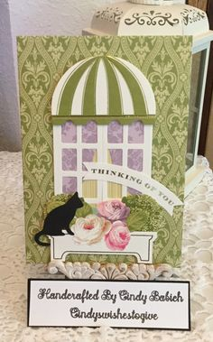 Thinking of You Card / Made with Anna Griffin Window Ledge Card Making Kit / Handcrafted By Cindy Babich (cindyswishestogive Anna Griffin Inc, Anna Griffin Cards, Window Ledge, Window Frames, Cricut Birthday Cards, Card Making Kits, Window Cards, Hearth And Home, Shaker Cards