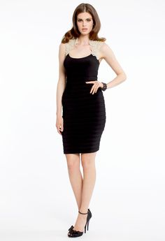 JERSEY SHUTTER DRESS WITH LACE CAP SLEEVES #lace #dress #short #chic #camillelavie #black