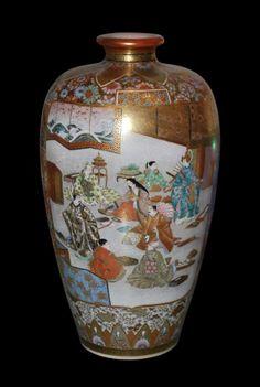 "SATSUMA WARE | Japanese antique ""Satsuma"" ware porcelain vase. Very nice details and ..."
