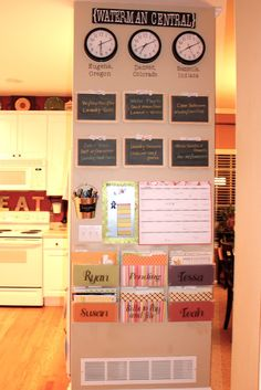 Achieving Creative Order: Command Center New Addition: Chalkboards Organization Station, Home Organisation, Organization Hacks, Bathroom Organization, Organizing Ideas, Command Center Kitchen, Family Command Center, Comand Center, Casa Clean