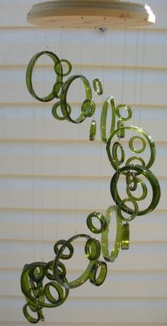RECYCLING WINE BOTTLES into windchimes, eco friendly and green, wind chimes, mobile, musical and colorful, wind chime
