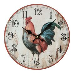 ... Wall Clocks - 30cm MDF Rooster