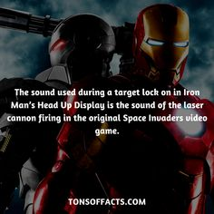 The sound used during a target lock on in Iron Man's Head Up Display is the sound of the laser cannon firing in the original Space Invaders video game. #ironman #tvshow #theavengers #comics #marvel #interesting #fact #facts #trivia #superheroes #memes #1 #movies #tonystark