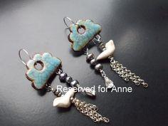 Blue Sky Earrings with handmade ceramic clouds by TheGildedCloud
