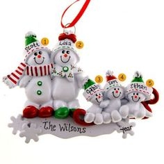 Snow Family Of 5 On Sled Christmas Ornament | Ornaments and More 15.99