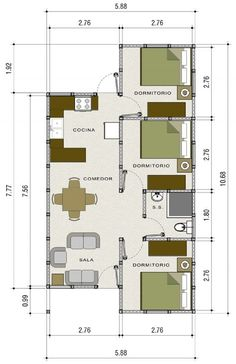 Small House Floor Plans, Simple House Plans, Home Design Floor Plans, My House Plans, Bungalow House Design, Small House Design, Model House Plan, Casas Containers, Floor Plan Layout