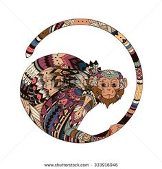 Bright color illustration of a monkey in 2016. Sketch of tattoo, tribal Tatem, amulet, a symbol of a monkey.