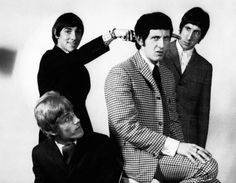 John Entwistle (in plaid at the front middle) bassist with The Who, was born today 10-9 in 1944. L-R from lower left - Roger Daultry, Keith Moon, John Entwistle and Pete Townshend -- 1966