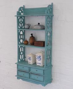 Shabby chic shelf and drawer unit painted in Annie Sloan's Provence. Available from Charlotte Jones Interiors. Contact us: sales@charlottejonesinteriors.com