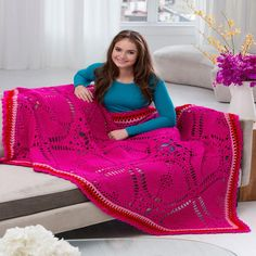 Love My Valentine Crochet Throw | Crochet a perfect lacy granny square afghan for your special someone