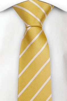 Slim tie - Bright yellow linen Chambray with small white dots Notch g5GhBa