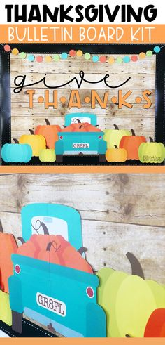 fall bulletin boards This Thanksgiving bulletin board kit is so easy to put together and will make your board look amazing! It includes little blue trucks that your students can wr Cafeteria Bulletin Boards, Thanksgiving Bulletin Boards, November Bulletin Boards, Bulletin Board Design, Halloween Bulletin Boards, Interactive Bulletin Boards, Reading Bulletin Boards, Winter Bulletin Boards, Preschool Bulletin Boards