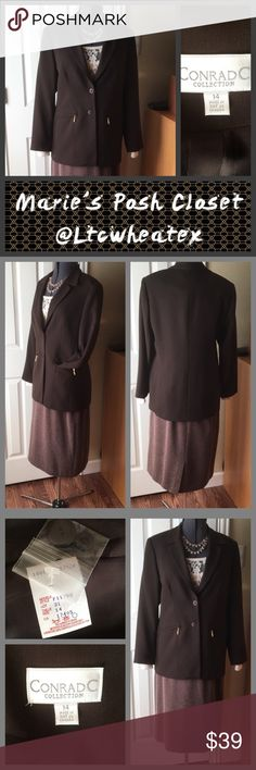 Brown Blazer Beautiful Blazer in deep brown with gold accent zipper tabs on each front pocket. Fully lined, gorgeous accent to any outfit. Super suit maker, wear with skirt or pants, turn any outfit into a professional looking suit. Conrad  C Jackets & Coats Blazers