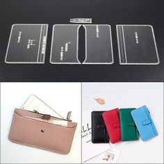 Picture 71 of And Crafts House Style (This item just a Acrylic Board Tool,not the wallet and other accessories). Leather Diy Crafts, Leather Projects, Leather Craft, Diy Leather Card Holder, Pochette Diy, Leather Wallet Pattern, Vegetable Leather, Backpack Pattern, Handbag Patterns