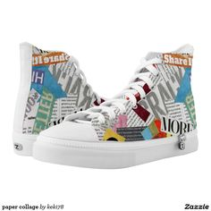 paper collage printed shoes