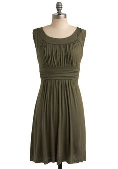 I Love Your Dress in Olive - Green, Solid, Pleats, Casual, A-line, Sleeveless, Show On Featured Sale, Jersey, Ruching, Scoop, Spring, Work, Top Rated, Best Seller, Mid-length