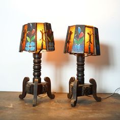 Monterey Table Lamps / Set of Two Matching California Rancho / Vintage 1930s Spanish Revival / Mission Lamps with Painted Flowers