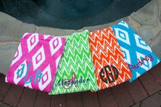 Monogrammed Beach Towel  Personalized Beach by JennLorynDesigns
