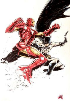 Iron Man vs. Batman by Andie Tong ..The battle everyone has always waited for..or at least me!!!
