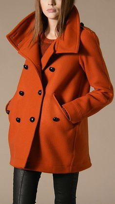 My new fall coat... Orange and Burberry, yes!!