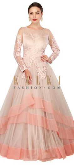 Buy Now Cream grey gown adorn in resham and sequin only on Kalki
