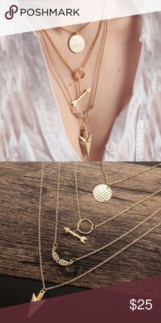 RESTOCKED▪️15%OFF 2+ boho layered necklace gold 4 layer boho necklace   - actual item shown in picture #2 -  Gold zinc alloy & Australian crystals  20% off 2+ items in bundle WILA Jewelry Necklaces
