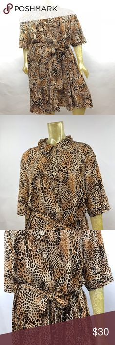 "Mariage NWT Plus Size Shirt Dress Animal Print Posh Thrift Shop  Thanks for stopping by!!!  Item: Mariage Women's Plus Size 20W 20 Animal Print Shirt Dress Short Sleeves  Condition: Brand new with tags.   Please refer to images for more details about this item. If you have any questions please feel free to ask. All measurements are taken with the item laying and are approximate.   Armpit to Armpit: 26""  Shoulder to Hem: 47"" Mariage Dresses"